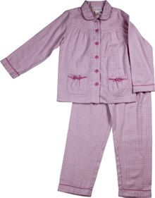 Girls pink gingham flannel pj