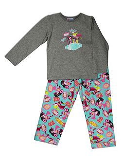 Girls Superhero knit top/flannel pant