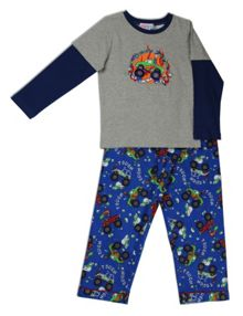 Mini ZZZ Monster Truck knit top/flannel pant