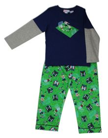 Mini ZZZ Soccer knit top/flannel pant