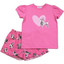 Mini ZZZ Girls Puppy T-Shirt And Woven Boxer