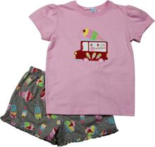 Girls Ice-Cream T-Shirt And Woven Boxer