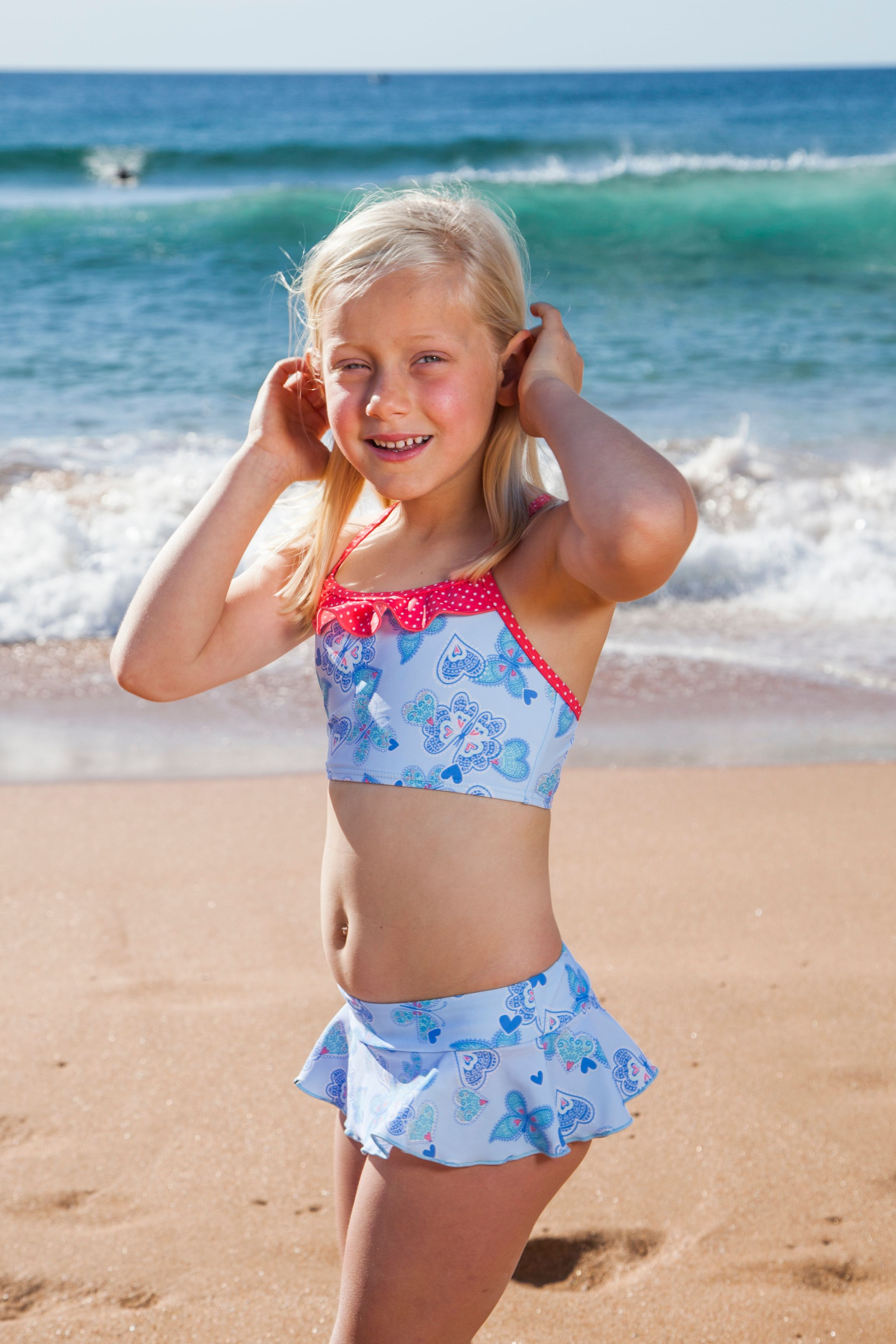 Girl`s butterfly hearts tankini upf50+