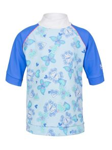 Girl`s butterfly hearts short sleeve sunshirt upf