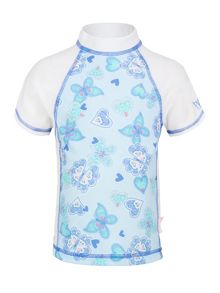 Girl`s butterfly hearts fitted short sleeve sunsh
