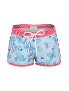 Girl`s butterfly hearts lycra boardshort upf50+