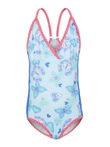 Girls Butterfly Hearts Swimsuit UPF50+