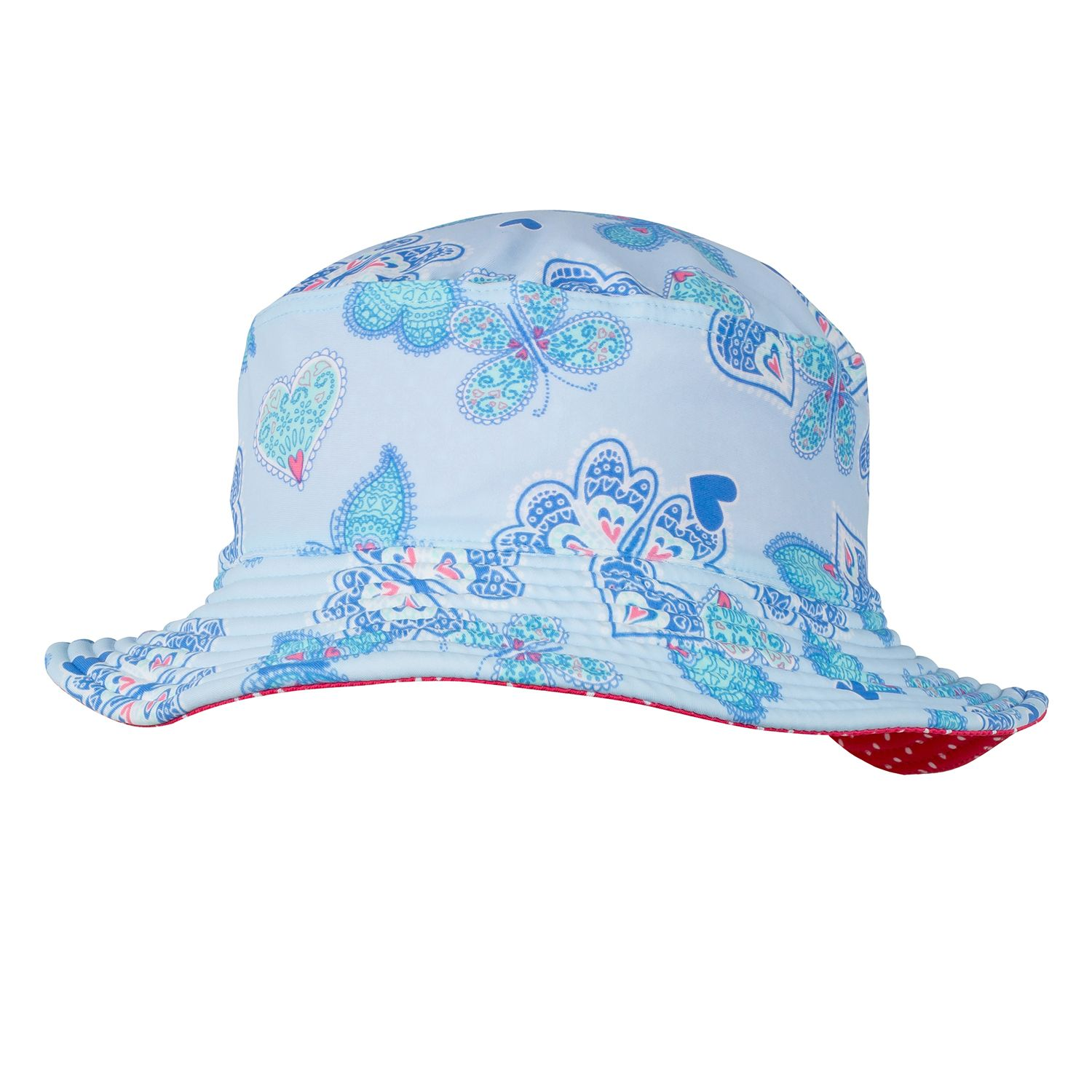 Girl`s butterfly hearts bucket hat upf50+