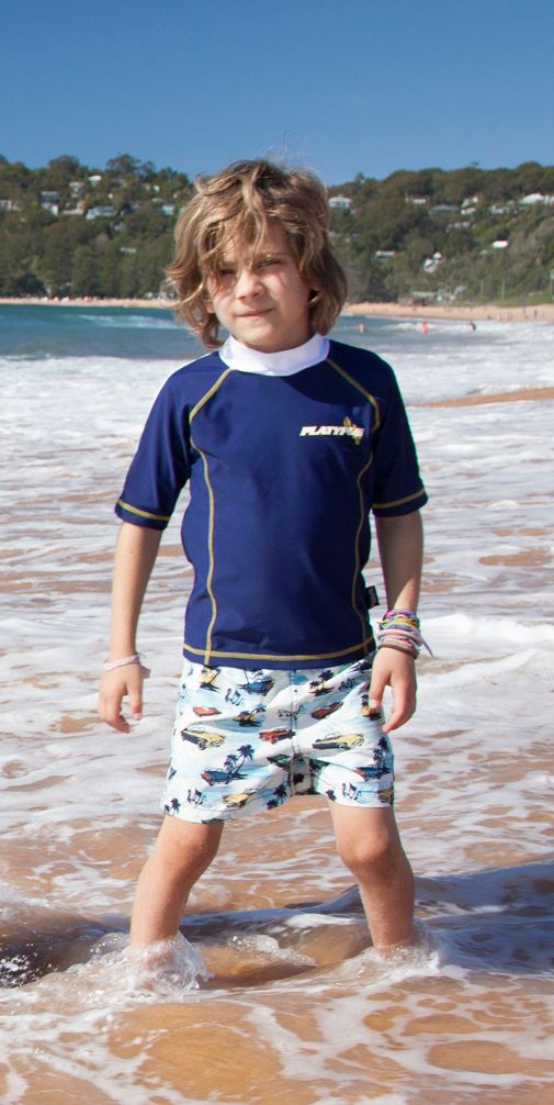 Boy`s navy short sleeve sunshirt upf50+