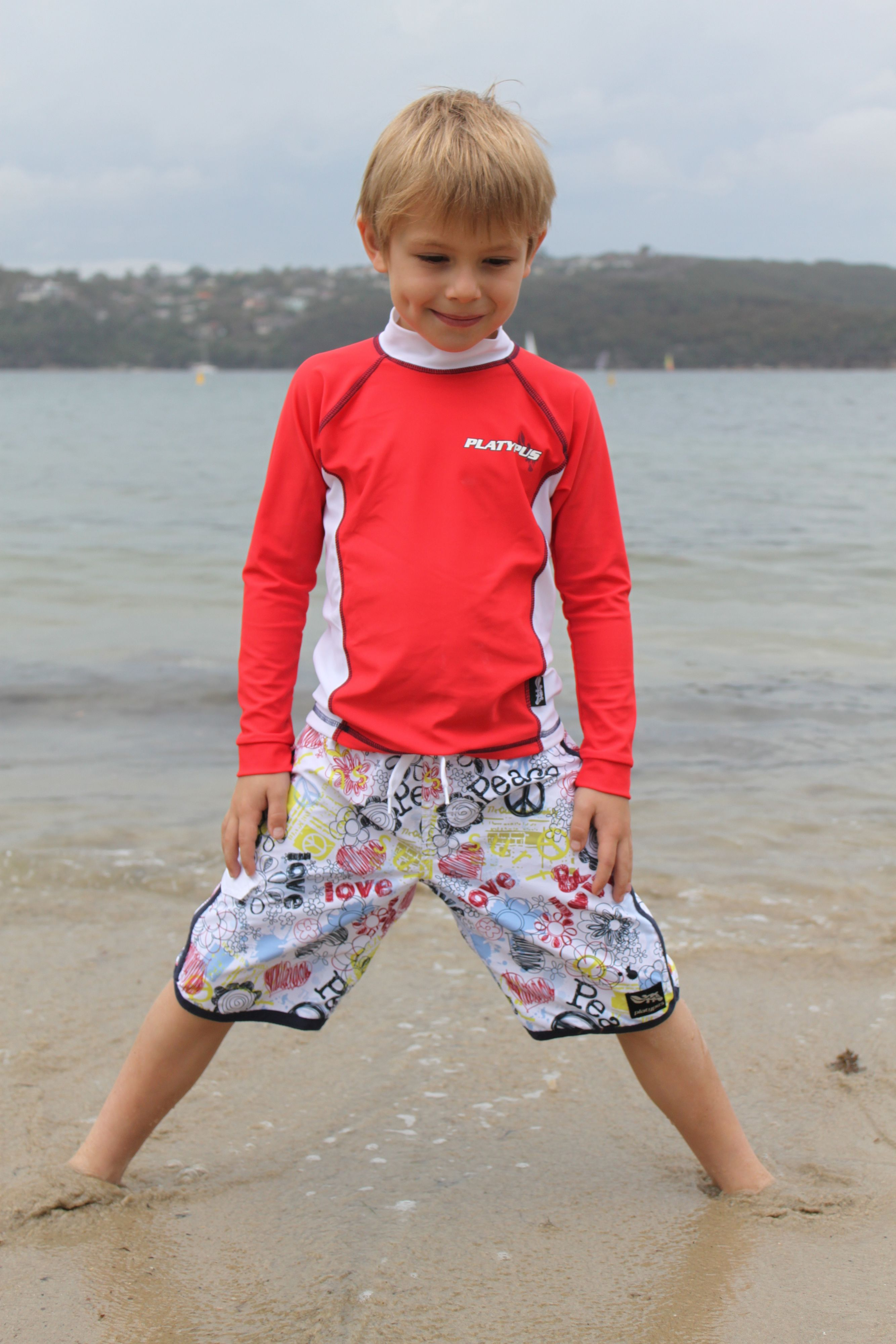 Boy`s red ls sunshirt upf50+