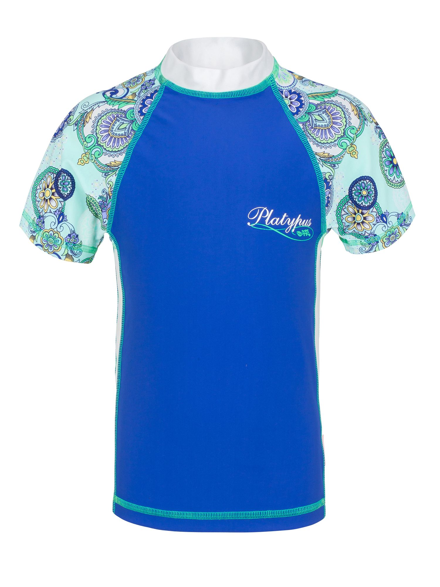 Girl`s medallions fitted short sleeve sunshirt up