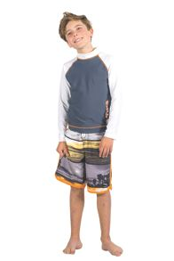 Boys burnt orange slim boardshort UPF50+