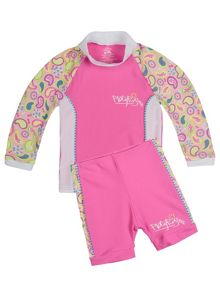 Girls UPF 50+ Paisley Baby Sunset LS