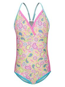 Platypus Australia Girls UPF 50+ Paisley Race Swimsuit