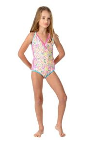 Girls UPF 50+ Paisley Race Swimsuit
