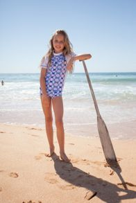 Girls UPF50+  Mosaic Fitted Sunshirt SS