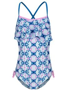 Girls UPF 50+ Mosaic Flounce Swimsuit