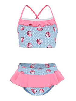 Girls UPF50+ Seashells Frill Tankini