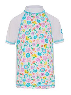 Girls UPF50+ Bloom SS Fitted Sunshirt