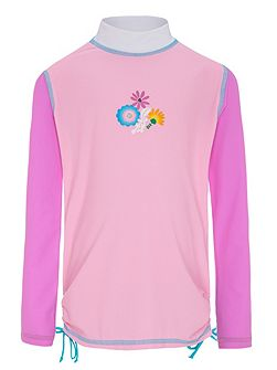 Girls UPF50+ Bloom LS Ruched Sunshirt