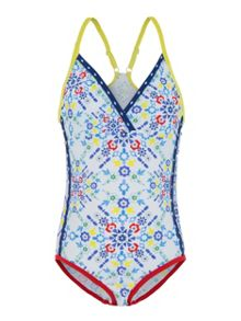 Platypus Australia Girls UPF50+ Kaleidoscope Race Swimsuit