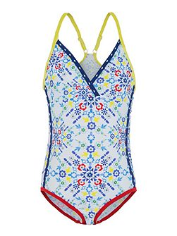 Girls UPF50+ Kaleidoscope Race Swimsuit