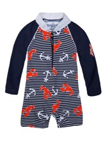 Platypus Australia Boys UPF50+ Lobster Catch Baby Sunsuit