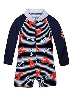 Boys UPF50+ Lobster Catch Baby Sunsuit