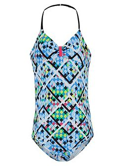 Girls UPF50+ Illusion Halter Swimsuit