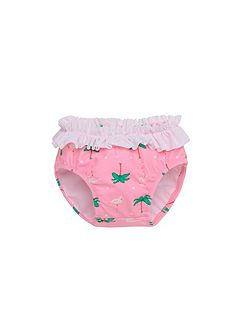 Girls UPF50+ Flamingo Baby Swim Brief