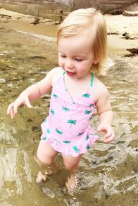 Platypus Australia Girls UPF50+ Flamingo Skirted Swimsuit
