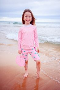 Platypus Australia Girls UPF50+ Flamingo LS Ruched Sunshirt