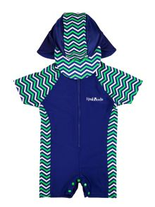 Boy`s sunsuit with chevron panelling