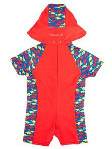 Boy`s sunsuit with dinosaur print
