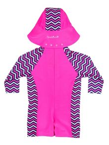 Girl`s sunsuit with chevron panelling