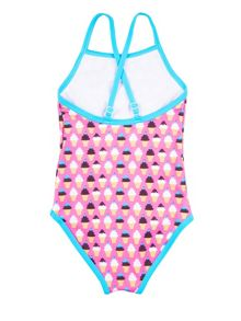 Girl`s swimsuit with ice-cream print