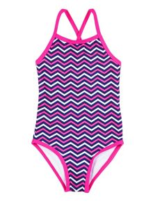 Girl`s swimsuit with chevron print