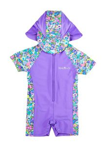 Girl`s sunsuit with floral panelling