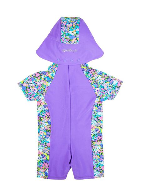 Rashoodz Girl`s sunsuit with floral panelling