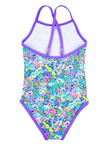 Girl`s swimsuit with floral print