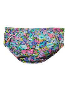 Girl`s floral swim reusable swim nappy