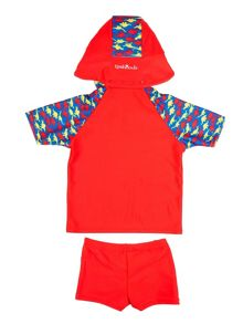 Rashoodz Boy`s swimwear set with dinosaur print