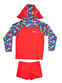 Boy`s swimwear set with dinosaur print