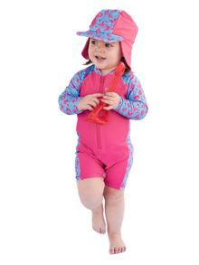 Rashoodz Girl`s Swimsuit and Attachable Hat