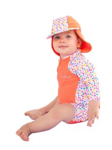 Girl`s Swimsuit and Attachable Hat