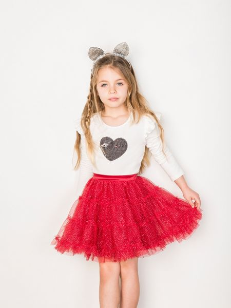Bardot Junior Girls Sequinned Heart Jersey Top