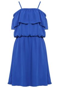 Bardot Junior Girls Cold Shoulder Georgette Frill Dress