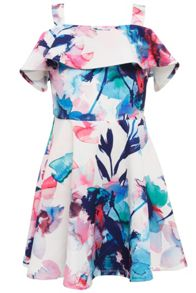 Bardot Junior Girls Digital Floral Print Dress With Front Frill