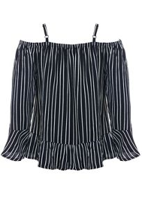 Bardot Junior Girls Stripe Cold Shoulder Blouse