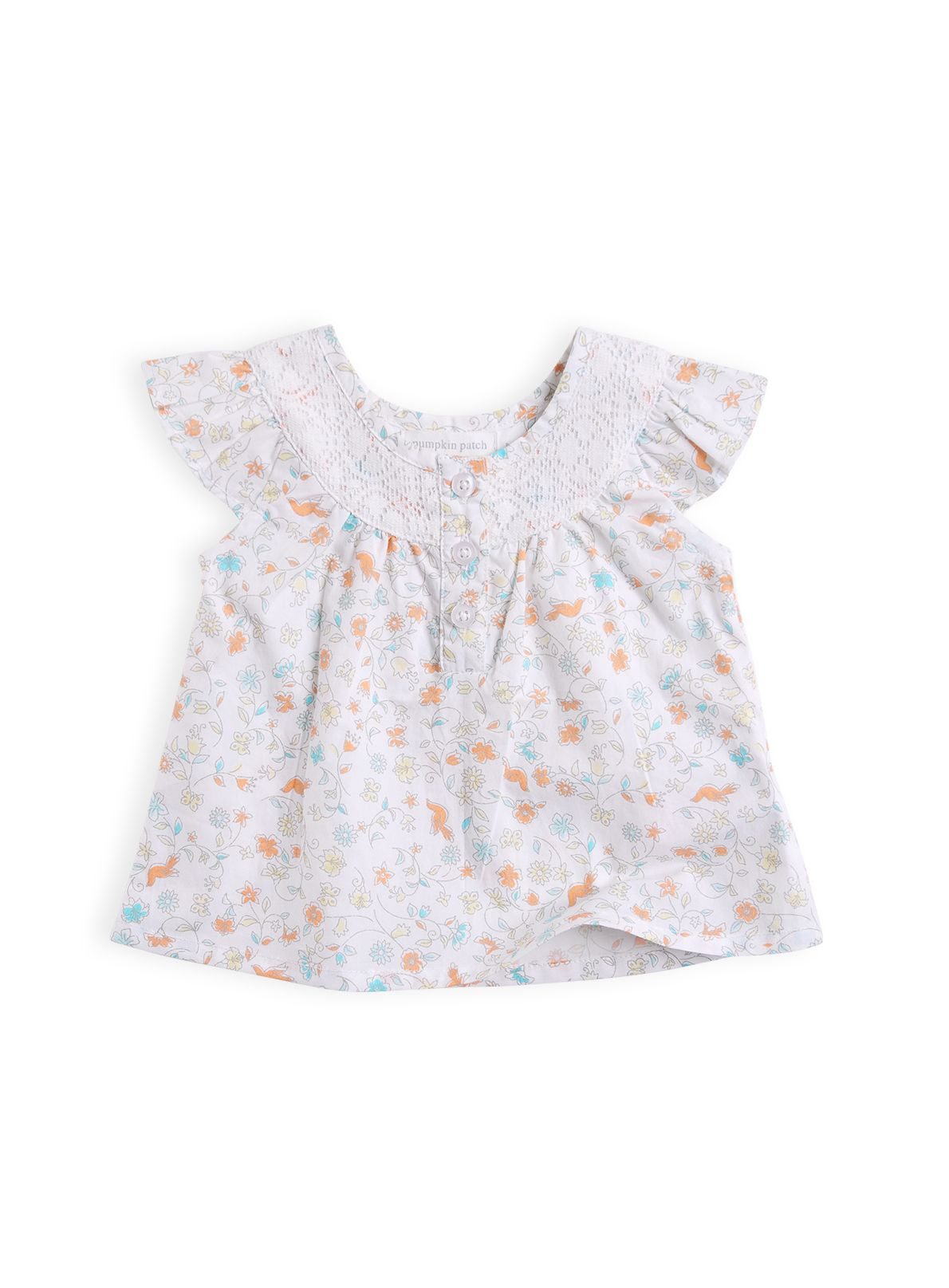 Girls lace yoke woven top